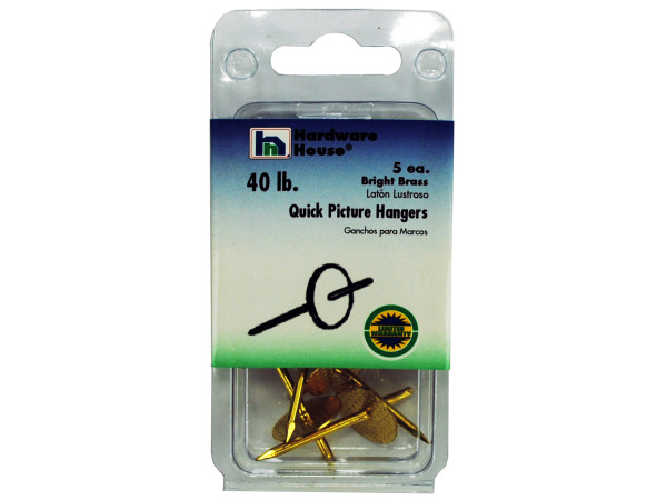 Brass picture hangers, pack of 5