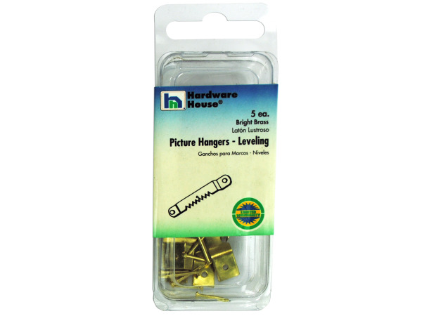 5 pk leveling picture hangers bright brass