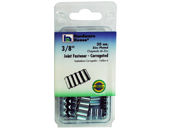 Zinc-plated corrugated joint fasteners, pack of 30