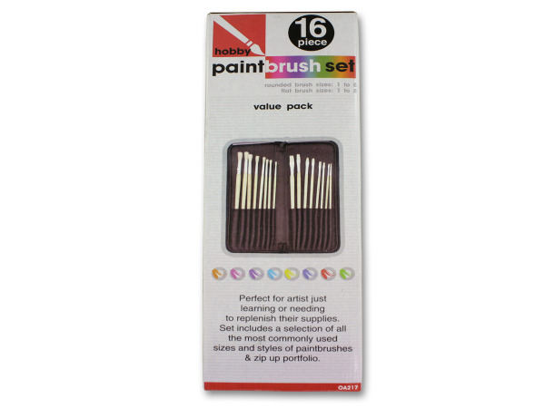 16 Piece hobby paint brush set with case