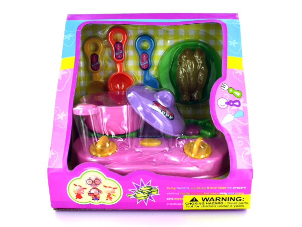 Children's kitchen play set with stove and utensils