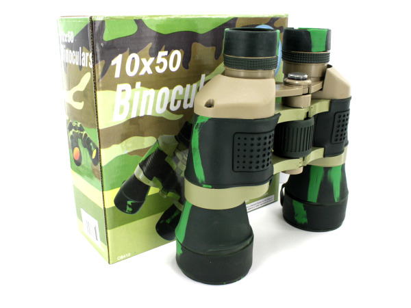 Camouflage binoculars with compass and pouch
