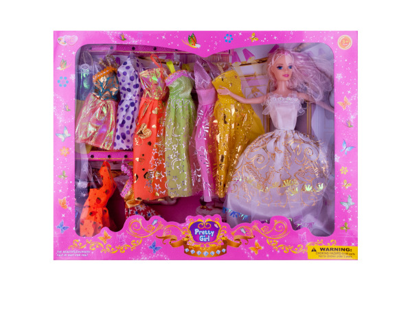 Pretty Girl Fashion Doll with Dresses Set