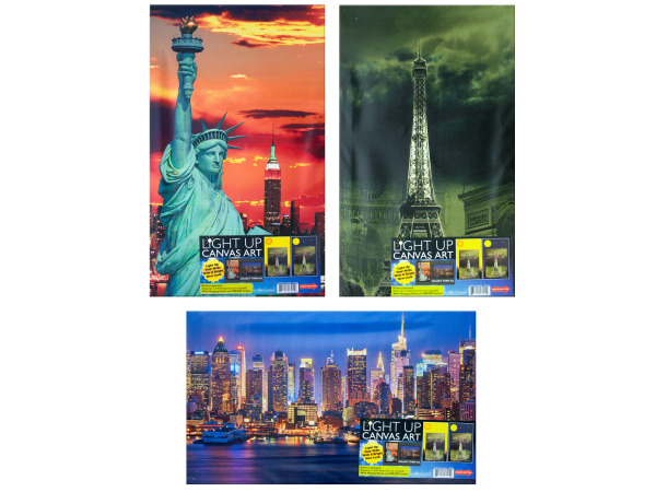 landmark light up artwork 3 assorted