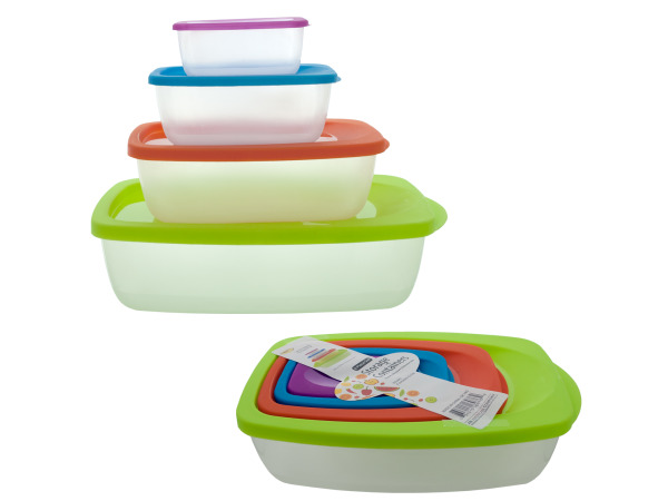 Rectangle Storage Containers With Brightly Colored Lids