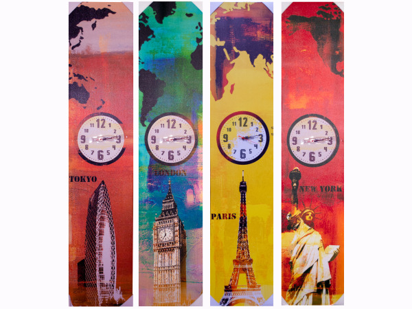 "55"" x 12"" World Landmark Canvas Wrap Art with Clock"