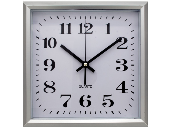 Square Silver Wall Clock