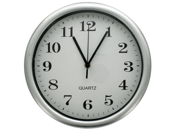 Round SIlver Wall Clock