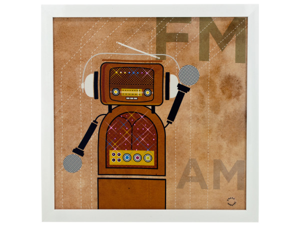 FM / AM Radio Robot Light Up Art