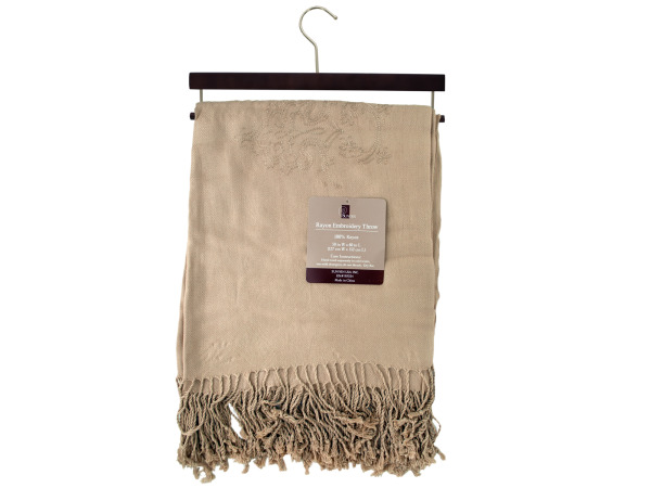 50 x 60 100% rayon embroidery throw with hanger
