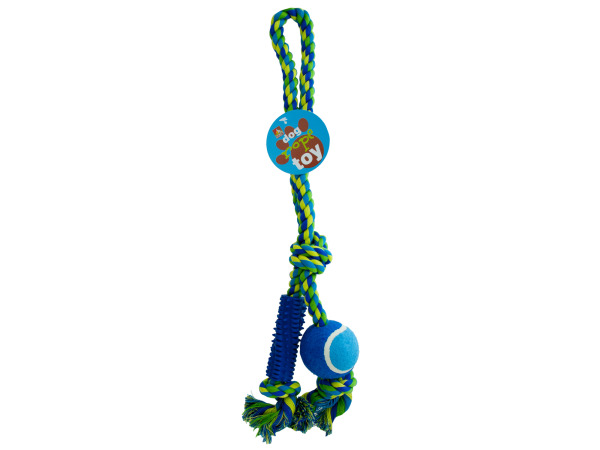 Dog Rope Toy with Ball and Rubber Spikes
