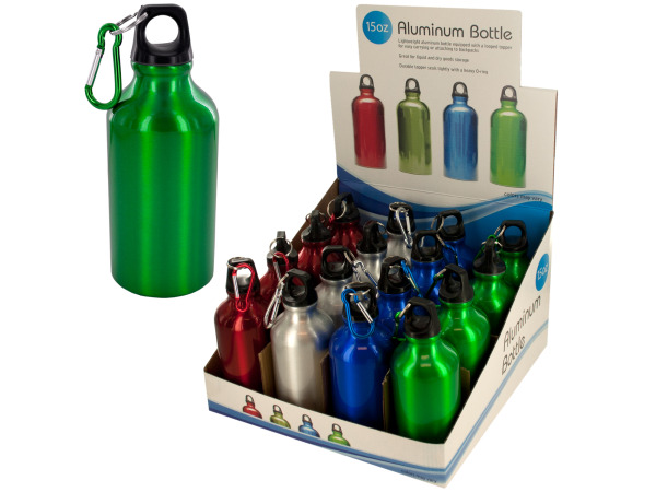 15-Ounce Aluminum Water Bottle Counter Top Display