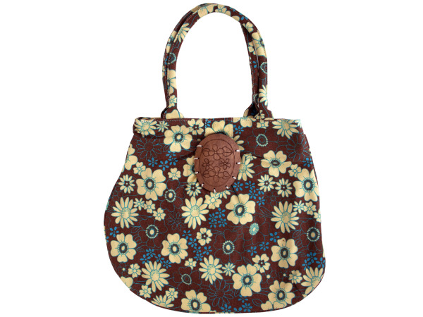 fabric flower tote bag