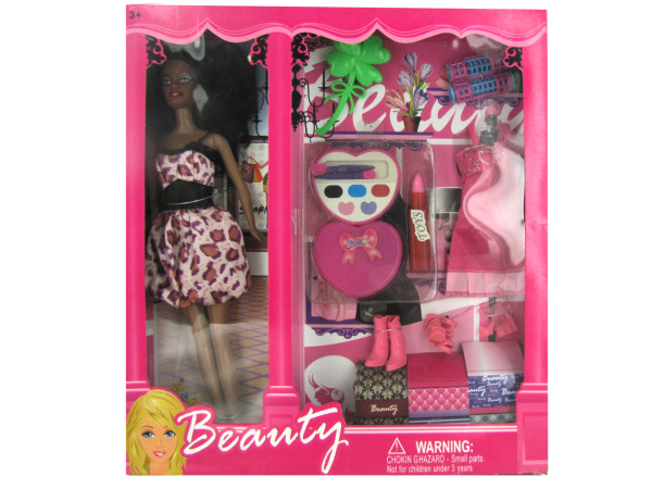 Black Fashion Doll with Dress and Accessories