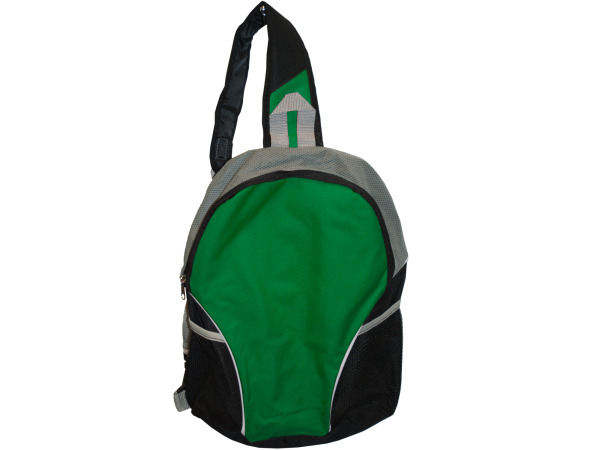 Black/Green Sling Strap Backpack with Mesh Pockets