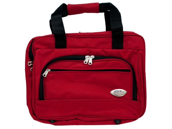 red overnight bag