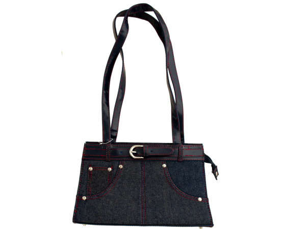 Blue Denim Handbag with Belt Accent and Red Stitching