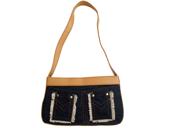 Blue Denim Handbag with Tan Trim and Fringed Pockets