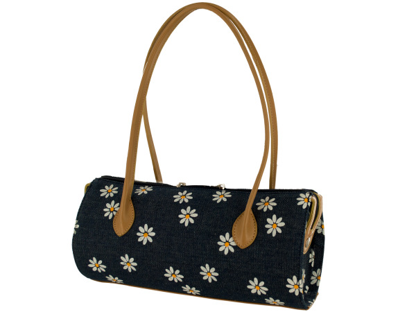 Daisy Denim Tube Handbag with Tan Handles