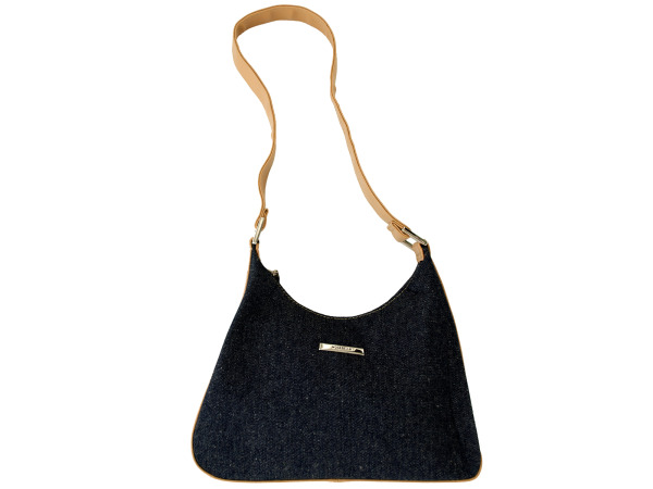 Blue Denim Handbag with Tan Handle and Trim