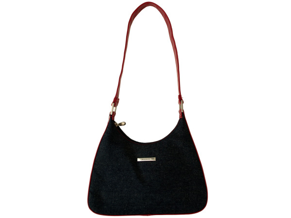 Blue Denim Handbag with Red Handle and Trim