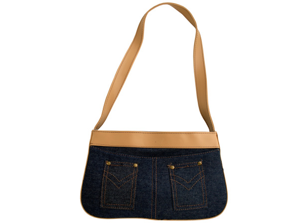Blue Denim Handbag with Tan Trim and Pockets