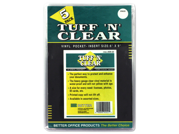 "Tuff 'n' Clear 6 x 9"" vinyl pocket"
