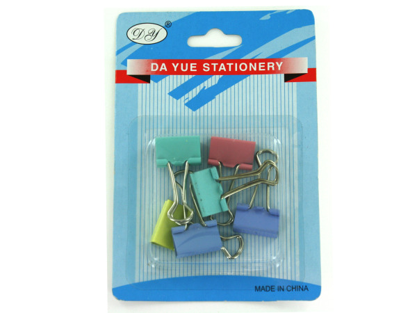 Small colorful binder clips