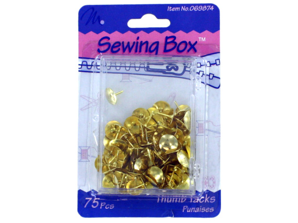 Brass thumb tacks, pack of 75