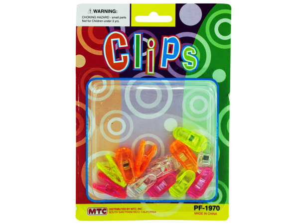 12 pack .5 inch clips clear and assorted neon colors