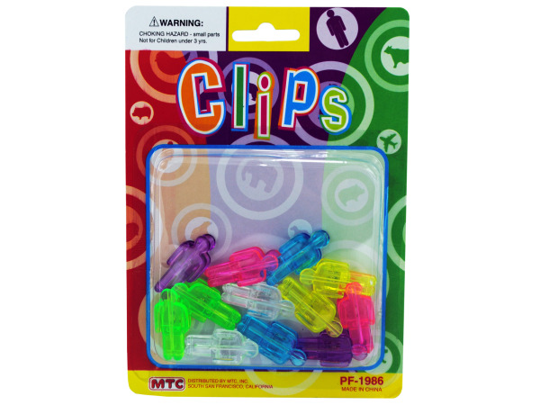 12 pack man shaped clips assorted solid colors