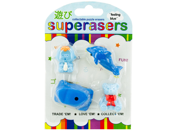 feeling blue erasers
