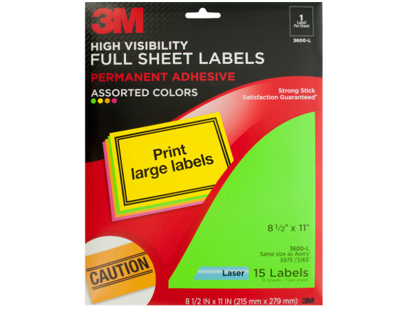3M High Visibility Full Sheet Labels Pack
