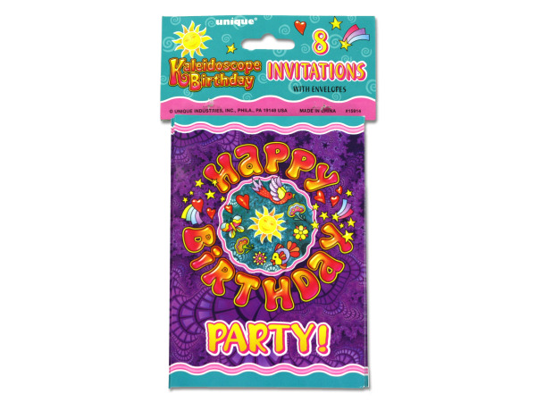 Kaleidoscope birthday party invitations, pack of 8