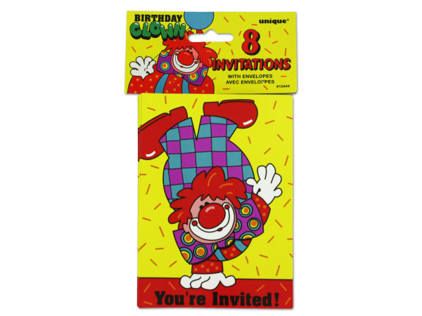 Clown party invitations, pack of 8