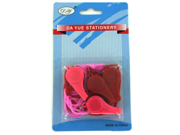 4 pack whistles assorted colors
