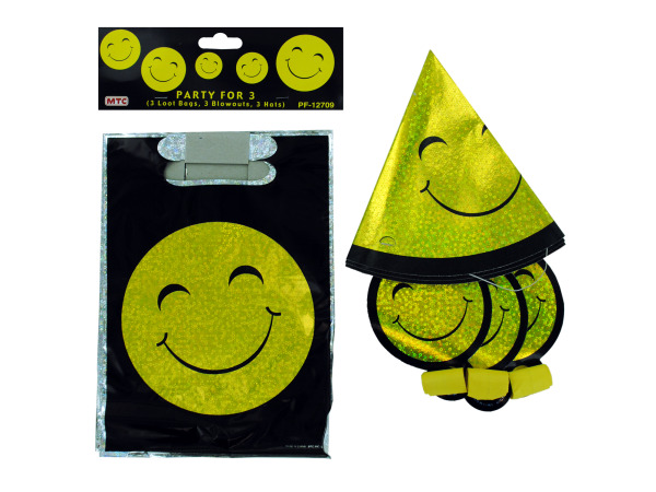 smiley face party set (3 loot bags, 3 blowouts, 3 hats)