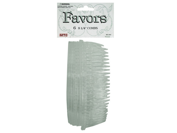 6 pack 5.25 inch clear hair combs