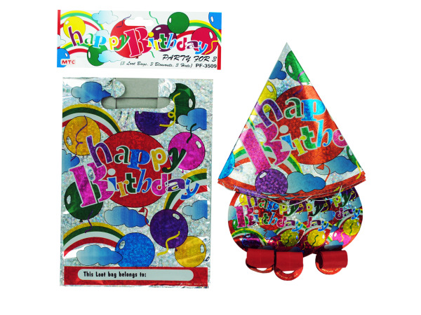 happy birthday party set (3 loot bags, 3 blowouts, 3 hats)