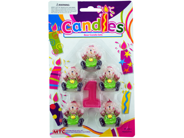 5 piece bear with number 1 candle set