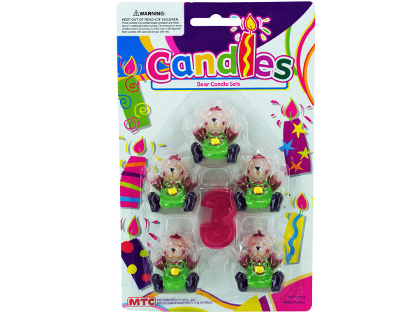 5 piece bear with number 3 candle set