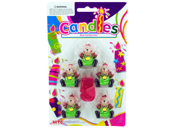 5 piece bear with number 4 candle set