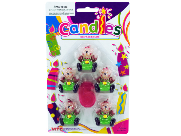 5 piece bear with number 6 candle set