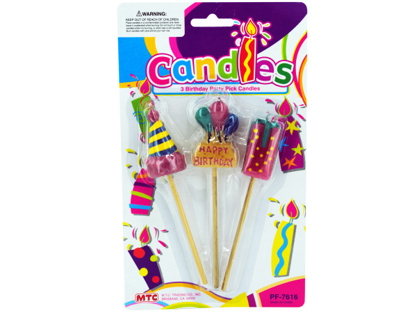 3 birthday party pick candles