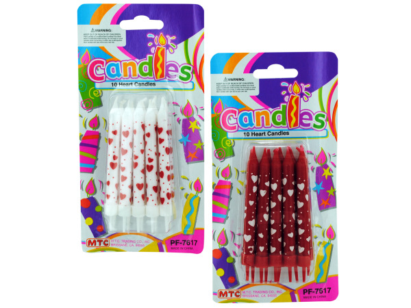 10 pack heart candles (assorted colors)