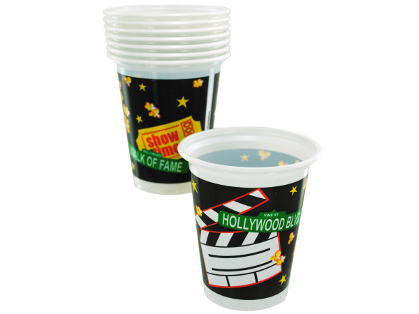 8ct 16oz lights camera action plastic cups