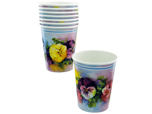 8ct 9oz pansies cups