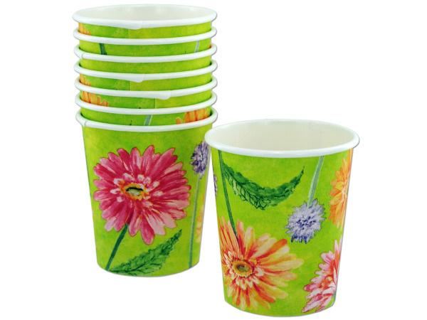 8 pack 7 ounce painted daisies paper cups