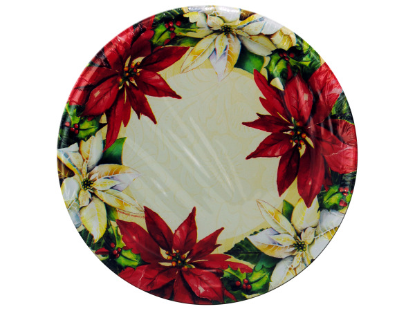 8 pack 8 3/4 inch poinsettia paper plates