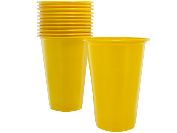 12 pack 12 oz yellow plastic cups
